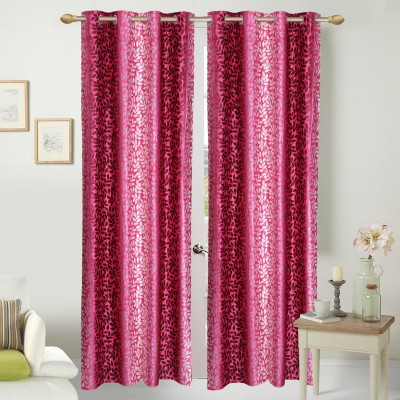 Handy Texty Polyester Pink Printed Eyelet Long Door Curtain