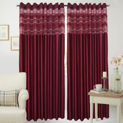 Rayon Casa Polyester Maroon Plain Eyelet Door Curtain