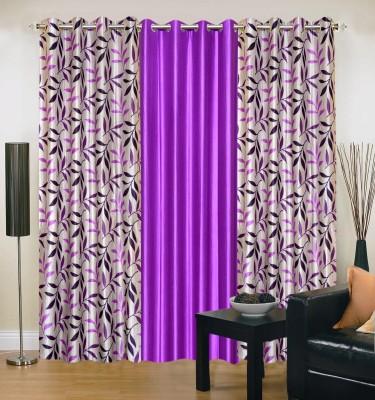 Swastik Polycotton Multicolor Striped Eyelet Window & Door Curtain
