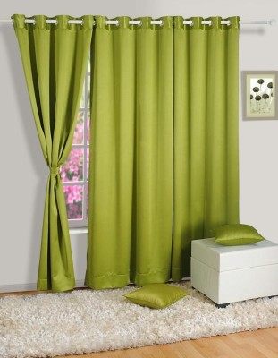 Homec Polyester Green Solid Eyelet Window Curtain