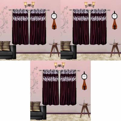 Go Decore Polyester Purple Self Design Ring Rod Window Curtain