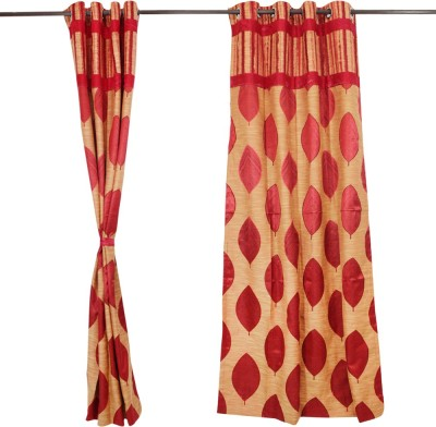 Textile O Craft Polyester Red Printed Eyelet Window Curtain