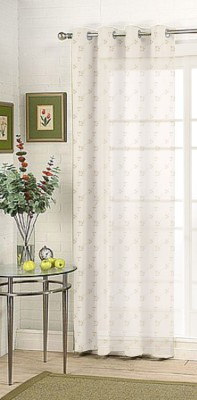 Fabutex Tissue Grey Embroidered Eyelet Door Curtain