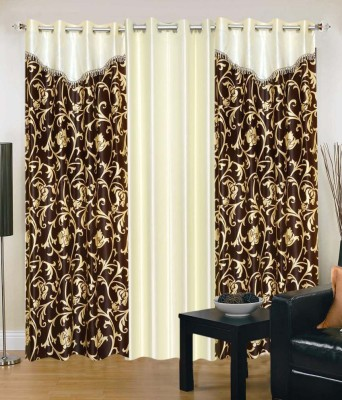 Home And Craft Polyester White Floral Eyelet Door Curtain