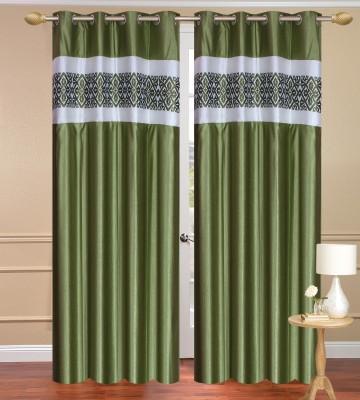 Daddyhomes Polyester Green Plain Curtain Door Curtain