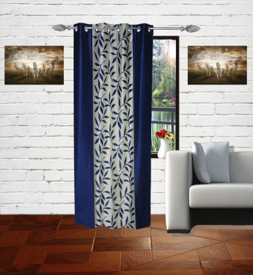 Gaurav Curtains Polyester Blue Floral Eyelet Window Curtain