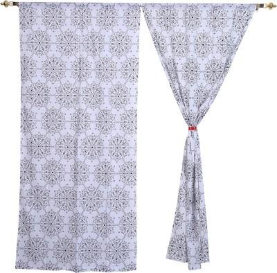 Rajrang Cotton White, Black Floral Eyelet Door Curtain