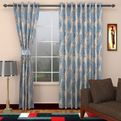 SEVEN STARS Cotton White/Blue printed Abstract Eyelet Window Curtain
