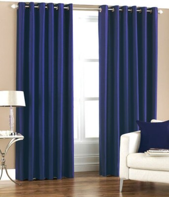 Homefab India Polyester Dark Blue Solid Eyelet Door Curtain