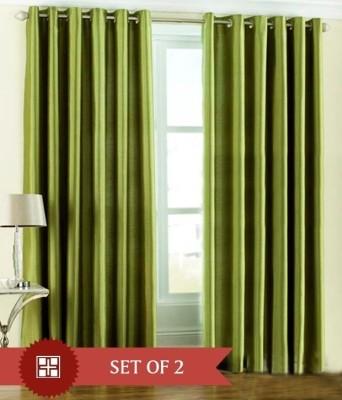 Sai Arpan Polyester Green Solid Tab Top Door Curtain