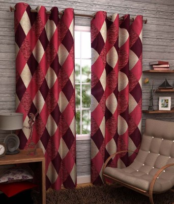 Angel Homes Polyester Red Floral Eyelet Window Curtain