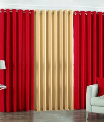 Z Decor Polyester Red Solid Eyelet Door Curtain