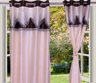 Desire Polyester Beige, Brown Solid Eyelet Window Curtain