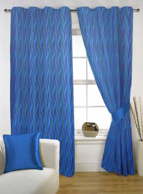 Kings Polycotton Blue Solid Tab Top Door Curtain