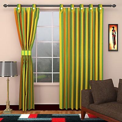 SEVEN STARS Cotton Green Striped Eyelet Window Curtain