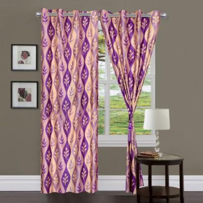Swastik Polycotton Purple Striped Eyelet Window & Door Curtain