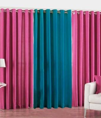 Jai Ganga Polyester pink and sky Plain Curtain Door Curtain
