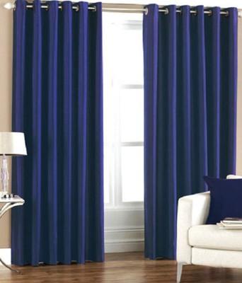 Daddu Enterprises Polyester Blue Plain Eyelet Long Door Curtain