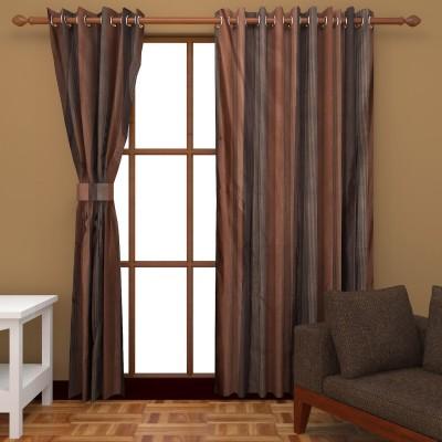 Royal Shri Om Polyester Brown Striped Eyelet Door Curtain