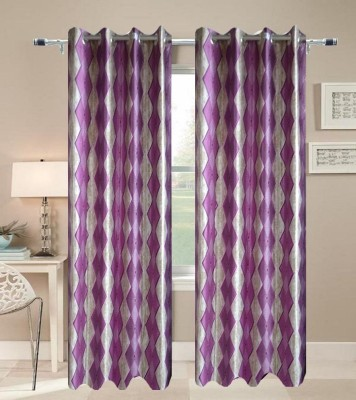 JF Polycotton Maroon Printed Eyelet Door Curtain