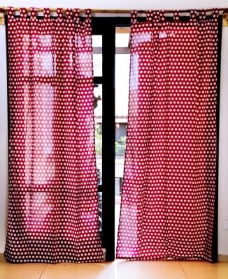 Ocean Homestore Cotton Red Polka Eyelet Window Curtain