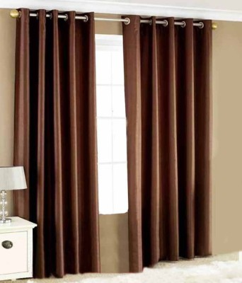 MSJ Polyester Brown Solid Eyelet Door Curtain