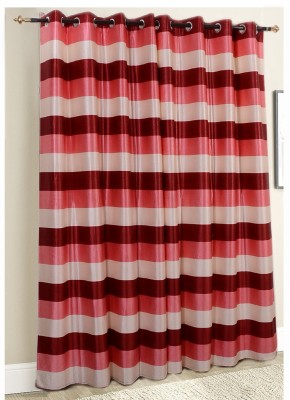 Jds Polyester Magenta-Pink-Cream Striped Eyelet Door Curtain