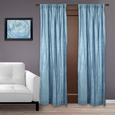Marmitte Silk Blue Solid Rod pocket Door Curtain