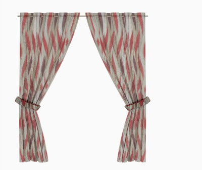 Zeneeze Decor Polyester Red Striped Eyelet Window & Door Curtain