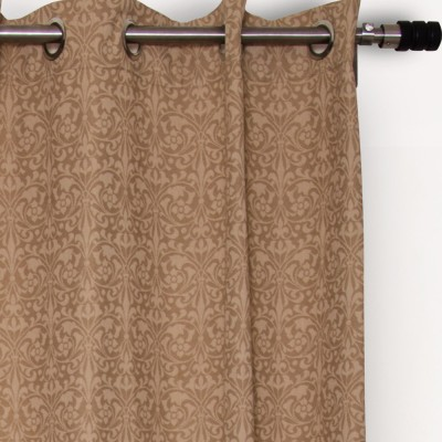 House This Cotton Brown Floral Eyelet Long Door Curtain