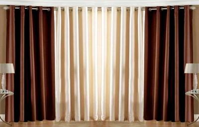 Pendu Art Polyester Brown, Cream Solid Eyelet Door Curtain