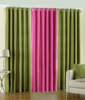 Mirchifry Polyester Green, Pink Solid Eyelet Door Curtain