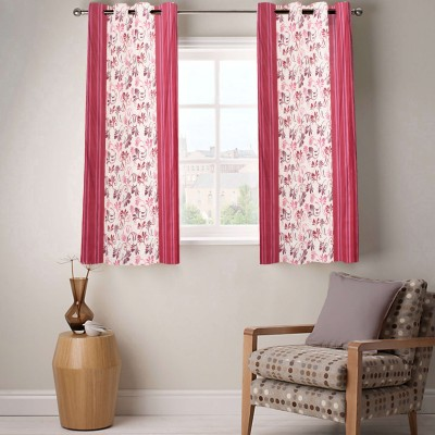 Fabutex Polyester Maroon Floral Eyelet Window Curtain