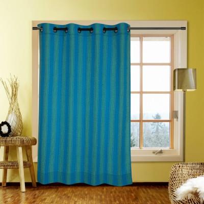 Handloom Factory Cotton Blue Striped Eyelet Window Curtain
