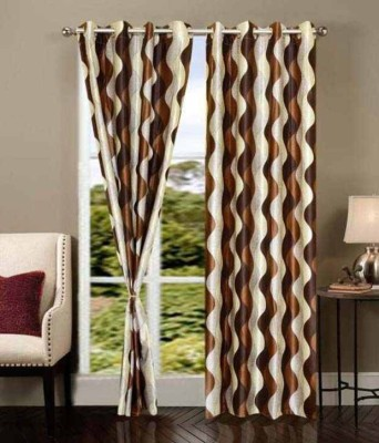 PHF Polyester Brown Floral Eyelet Long Door Curtain