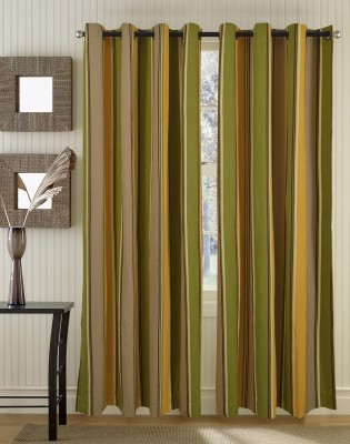 Home Boutique Cotton Green Striped Eyelet Long Door Curtain