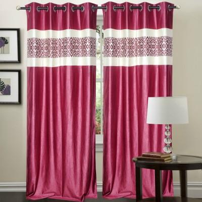 Decor Vatika Polyester Pink Abstract Eyelet Long Door Curtain