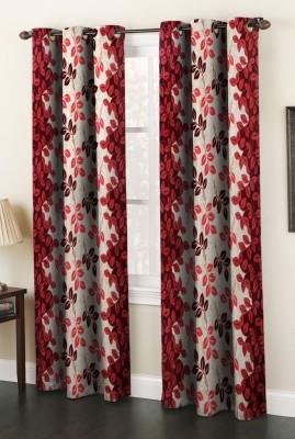AJ Interior Polyester Maroon Printed Eyelet Long Door Curtain