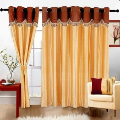 Z Decor Polyester Gold Solid Eyelet Door Curtain