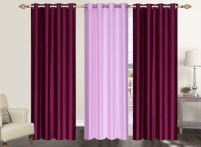 Furnishing Zone Polyester Maroon, Pink Plain Eyelet Long Door Curtain