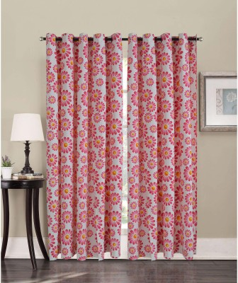 Home Boutique Cotton Pink Floral Eyelet Long Door Curtain