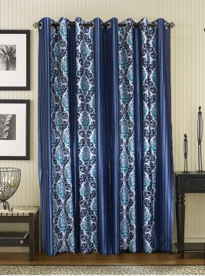 Jds Polyester Blue Floral Ring Rod Door Curtain