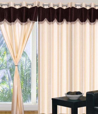 Deco Home Polyester Cream With Coffee Plain Eyelet Door Curtain