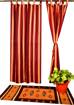Shamrock Cotton Dark Maroon Printed Eyelet Window Curtain
