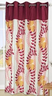 DRAPEZ Polyester Cream & Maroon Floral Eyelet Window & Door Curtain