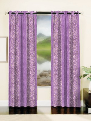 Mahamantra Polyester Lavender Abstract Eyelet Window Curtain