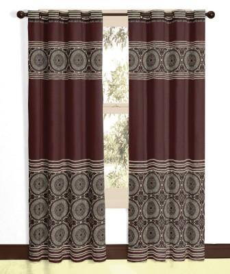 Vivace Homes Polyester, Jacquard Brown Geometric Eyelet Door Curtain