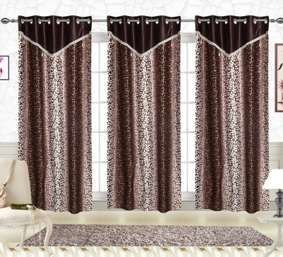 Comfort Zone Polyester Brown Small Leaf Floral Eyelet Door Curtain