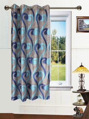 Dekor World Polyester Blue Self Design Eyelet Window Curtain