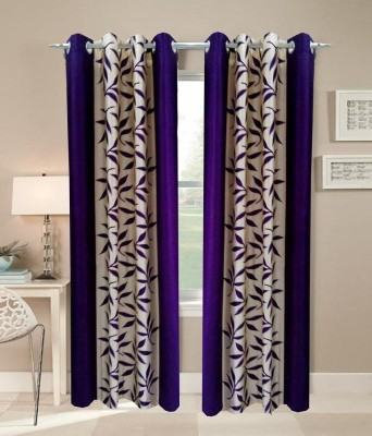 Angel Homes Polyester Purple Floral Eyelet Long Door Curtain